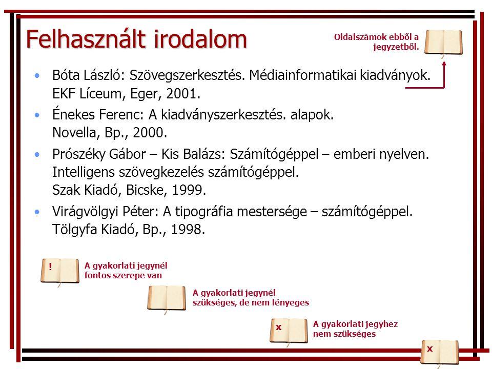 Felhasznált irodalom Bóta László: Szövegszerkesztés.