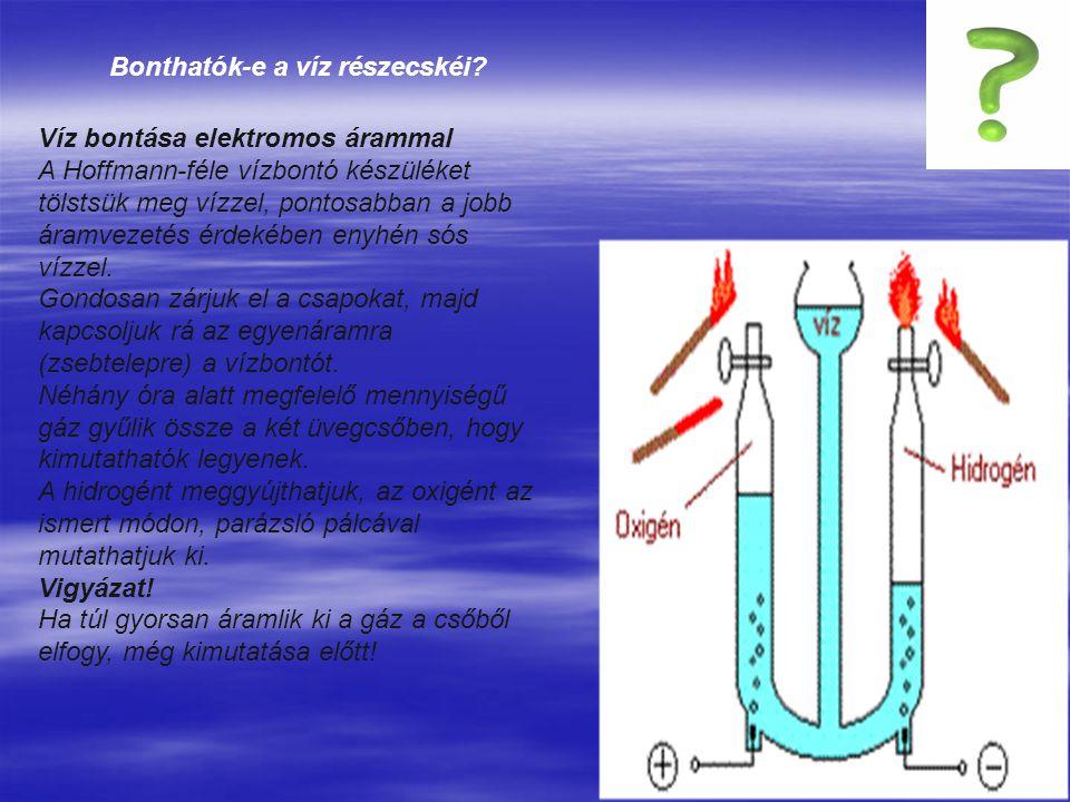 Bonthatók-e a víz részecskéi.