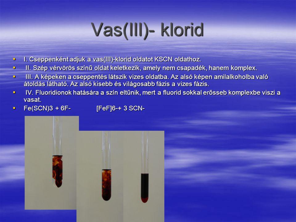 Vas(III)- klorid  I.Cseppenként adjuk a vas(III)-klorid oldatot KSCN oldathoz.