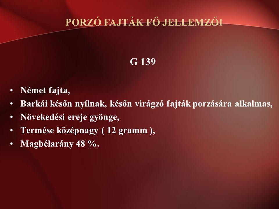 G 139 Német fajta, Barkái későn nyílnak, későn virágzó fajták porzására alkalmas, Növekedési ereje gyönge, Termése középnagy ( 12 gramm ), Magbélarány