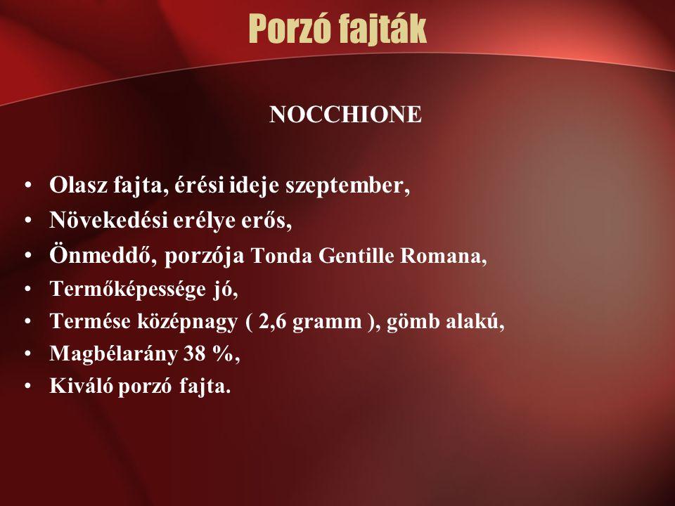 NOCCHIONE Olasz fajta, érési ideje szeptember, Növekedési erélye erős, Önmeddő, porzója Tonda Gentille Romana, Termőképessége jó, Termése középnagy (