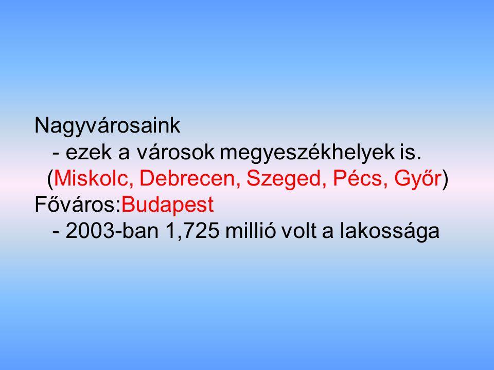 Nagyvárosaink - ezek a városok megyeszékhelyek is. (Miskolc, Debrecen, Szeged, Pécs, Győr) Főváros:Budapest - 2003-ban 1,725 millió volt a lakossága