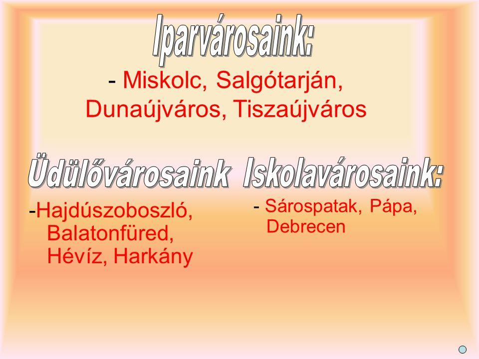 - Miskolc, Salgótarján, Dunaújváros, Tiszaújváros -Hajdúszoboszló, Balatonfüred, Hévíz, Harkány - Sárospatak, Pápa, Debrecen
