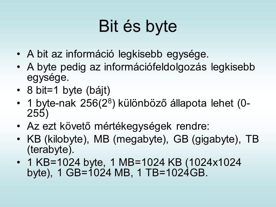 Bit és byte A bit az információ legkisebb egysége. A byte pedig az információfeldolgozás legkisebb egysége. 8 bit=1 byte (bájt) 1 byte-nak 256(2 8 ) k
