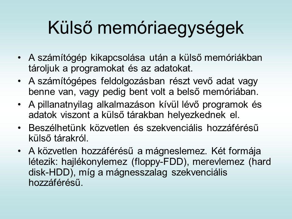 Külső memóriaegységek A számítógép kikapcsolása után a külső memóriákban tároljuk a programokat és az adatokat. A számítógépes feldolgozásban részt ve