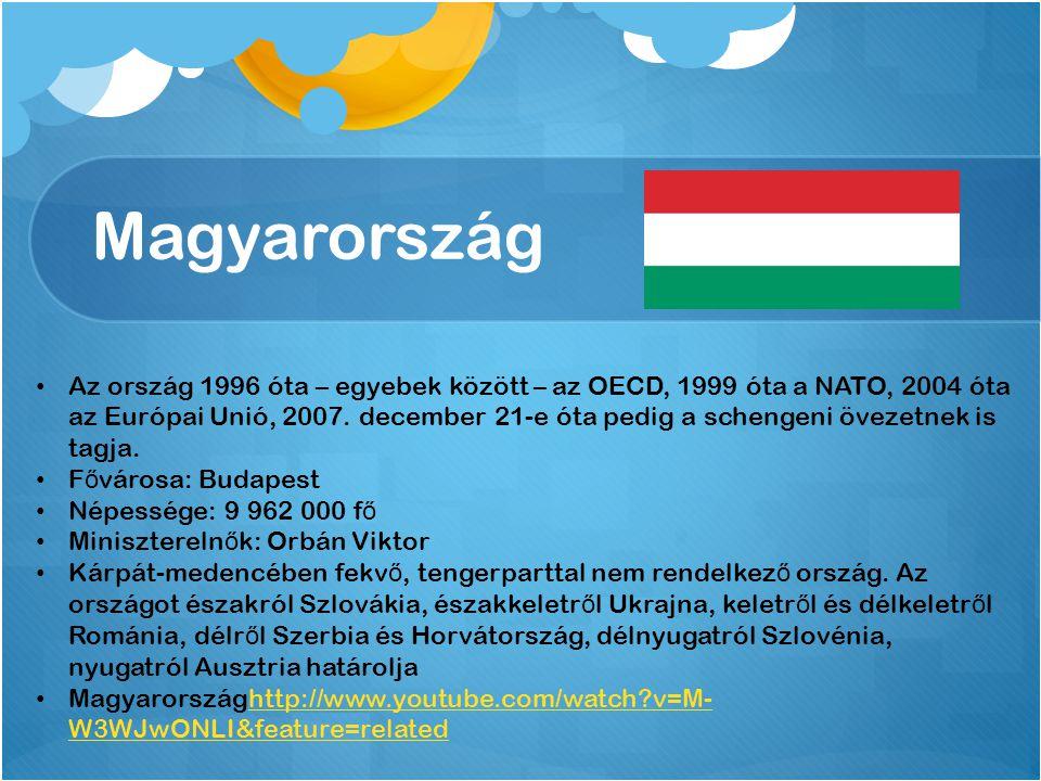 Magyarország Az ország 1996 óta – egyebek között – az OECD, 1999 óta a NATO, 2004 óta az Európai Unió, 2007.