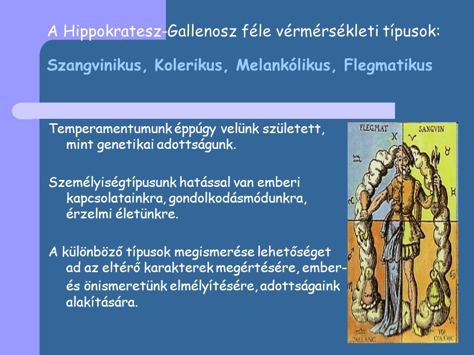 A Hippokratesz-Gallenosz féle vérmérsékleti típusok: Szangvinikus, Kolerikus, Melankólikus, Flegmatikus Temperamentumunk éppúgy velünk született, mint genetikai adottságunk.
