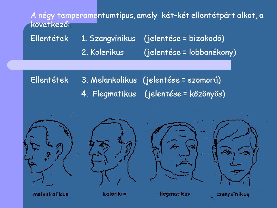 A négy temperamentumtípus, amely két-két ellentétpárt alkot, a következő: Ellentétek 1.