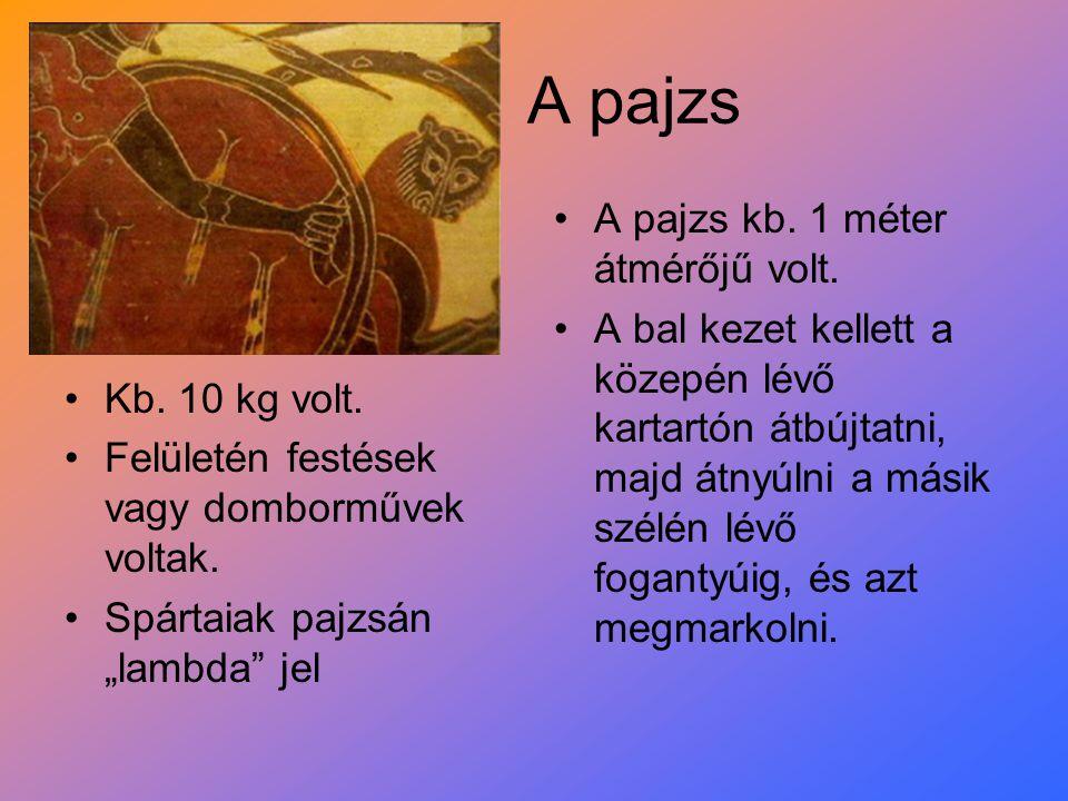"""A pajzs Kb. 10 kg volt. Felületén festések vagy domborművek voltak. Spártaiak pajzsán """"lambda"""" jel A pajzs kb. 1 méter átmérőjű volt. A bal kezet kell"""