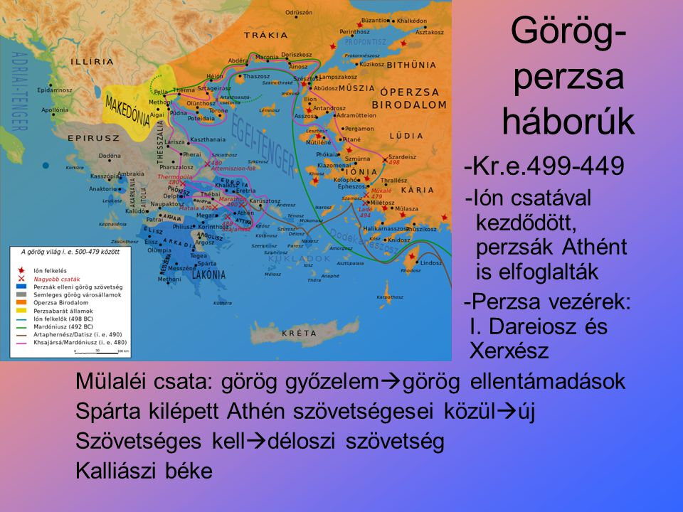 Görög- perzsa háborúk -Kr.e.499-449 -Ión csatával kezdődött, perzsák Athént is elfoglalták -Perzsa vezérek: I. Dareiosz és Xerxész Mülaléi csata: görö