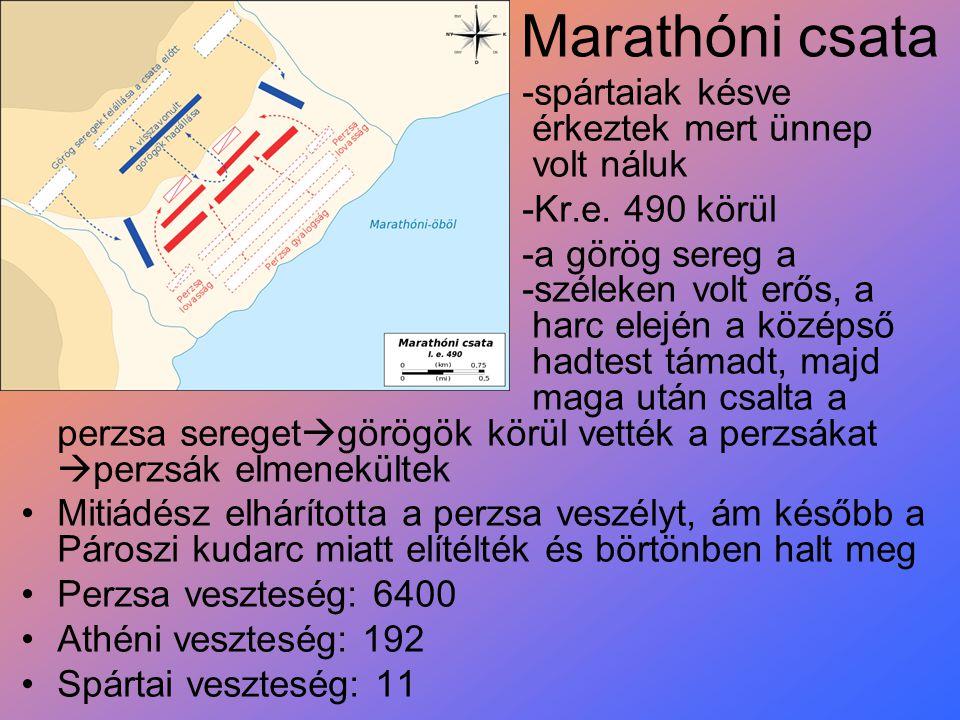 Marathóni csata -spártaiak késve érkeztek mert ünnep volt náluk -Kr.e. 490 körül -a görög sereg a -széleken volt erős, a harc elején a középső hadtest