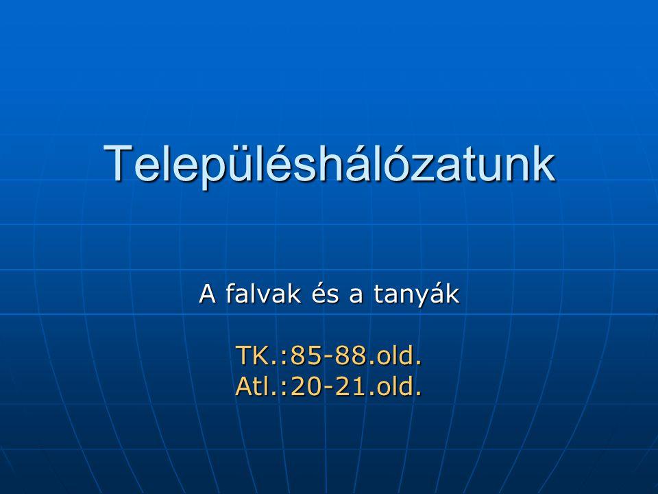 Településhálózatunk A falvak és a tanyák TK.:85-88.old.Atl.:20-21.old.
