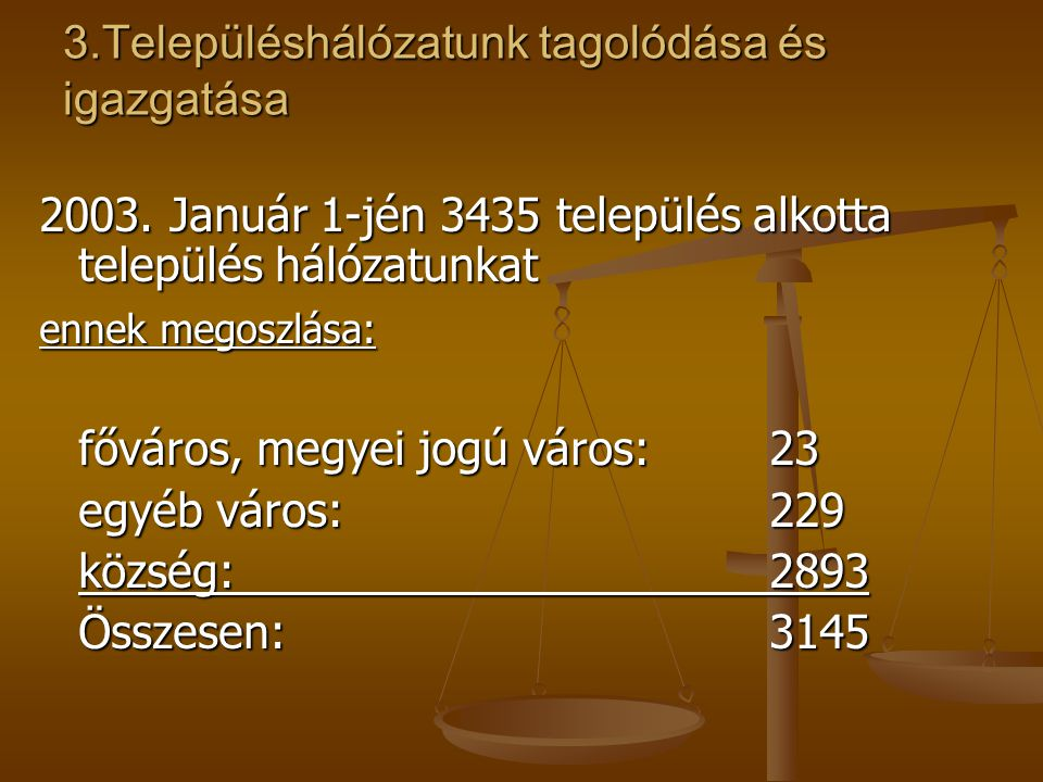 3.Településhálózatunk tagolódása és igazgatása 2003. Január 1-jén 3435 település alkotta település hálózatunkat ennek megoszlása: főváros, megyei jogú