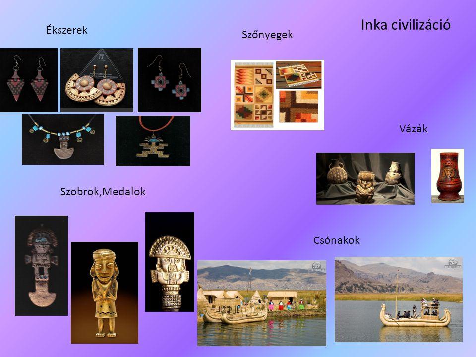 Inka civilizáció Ékszerek Szőnyegek Vázák Szobrok,Medalok Csónakok