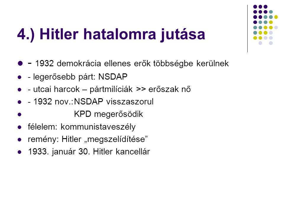 3. A náci párt a) hatalmi harc Hitler  Georg és Otto Strasser + Ernst Röhm Nem kívánjaszociális igéretek Megdöntenikomolyan vétele a kapitalizmustpl.