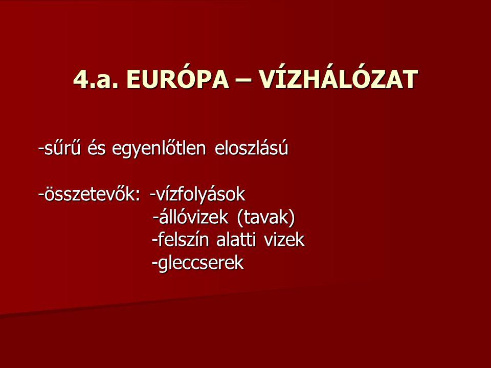 4.a. EURÓPA – VÍZHÁLÓZAT -sűrű és egyenlőtlen eloszlású -összetevők: -vízfolyások -állóvizek (tavak) -állóvizek (tavak) -felszín alatti vizek -felszín
