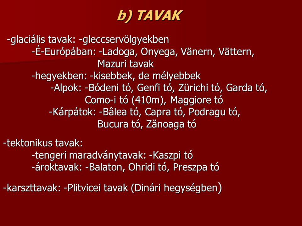b) TAVAK -glaciális tavak: -gleccservölgyekben -glaciális tavak: -gleccservölgyekben -É-Európában: -Ladoga, Onyega, Vänern, Vättern, -É-Európában: -Ladoga, Onyega, Vänern, Vättern, Mazuri tavak Mazuri tavak -hegyekben: -kisebbek, de mélyebbek -hegyekben: -kisebbek, de mélyebbek -Alpok: -Bódeni tó, Genfi tó, Zürichi tó, Garda tó, -Alpok: -Bódeni tó, Genfi tó, Zürichi tó, Garda tó, Como-i tó (410m), Maggiore tó Como-i tó (410m), Maggiore tó -Kárpátok: -Bâlea tó, Capra tó, Podragu tó, -Kárpátok: -Bâlea tó, Capra tó, Podragu tó, Bucura tó, Zănoaga tó Bucura tó, Zănoaga tó -tektonikus tavak: -tengeri maradványtavak: -Kaszpi tó -tengeri maradványtavak: -Kaszpi tó -ároktavak: -Balaton, Ohridi tó, Preszpa tó -ároktavak: -Balaton, Ohridi tó, Preszpa tó -karszttavak: -Plitvicei tavak (Dinári hegységben )