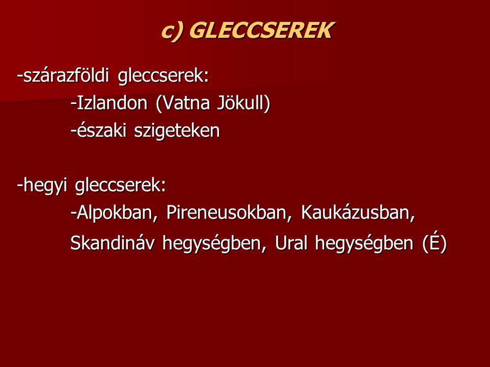 c) GLECCSEREK -szárazföldi gleccserek: -szárazföldi gleccserek: -Izlandon (Vatna Jökull) -Izlandon (Vatna Jökull) -északi szigeteken -északi szigeteken -hegyi gleccserek: -hegyi gleccserek: -Alpokban, Pireneusokban, Kaukázusban, -Alpokban, Pireneusokban, Kaukázusban, Skandináv hegységben, Ural hegységben (É) Skandináv hegységben, Ural hegységben (É)