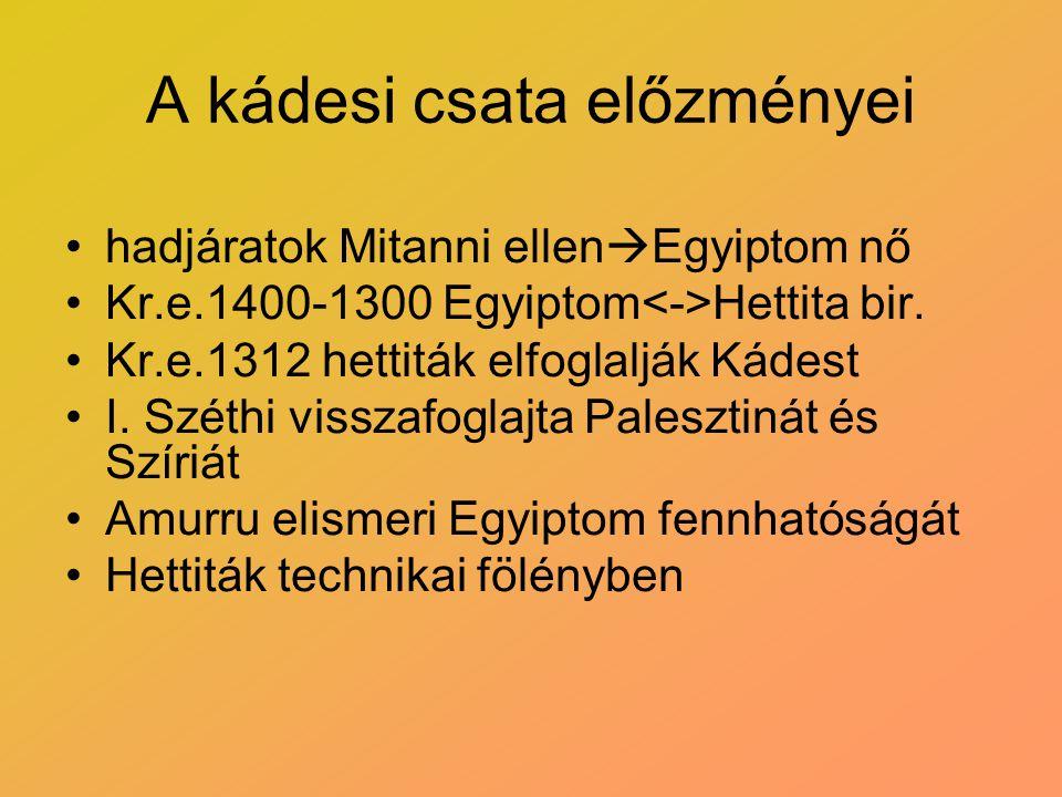 A kádesi csata előzményei hadjáratok Mitanni ellen  Egyiptom nő Kr.e.1400-1300 Egyiptom Hettita bir. Kr.e.1312 hettiták elfoglalják Kádest I. Széthi