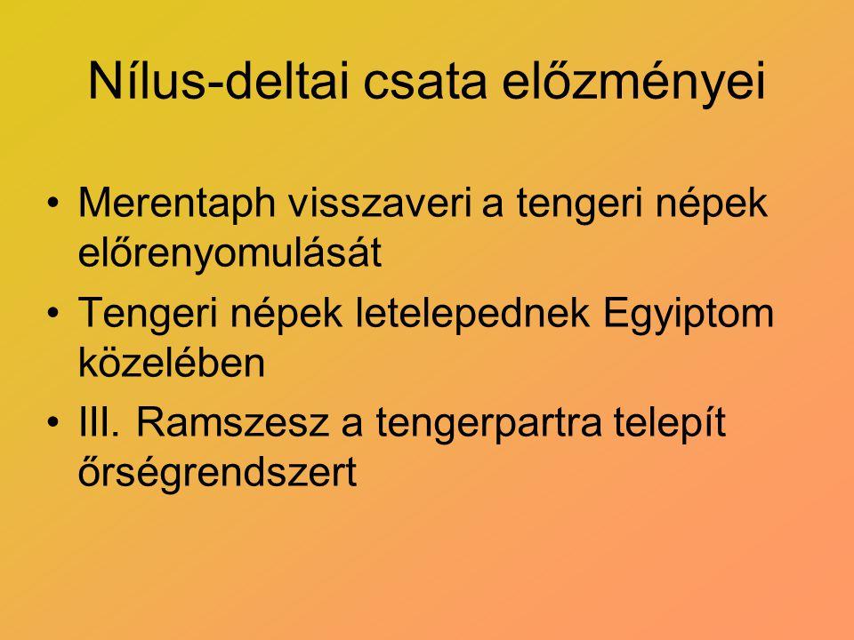 Nílus-deltai csata előzményei Merentaph visszaveri a tengeri népek előrenyomulását Tengeri népek letelepednek Egyiptom közelében III. Ramszesz a tenge