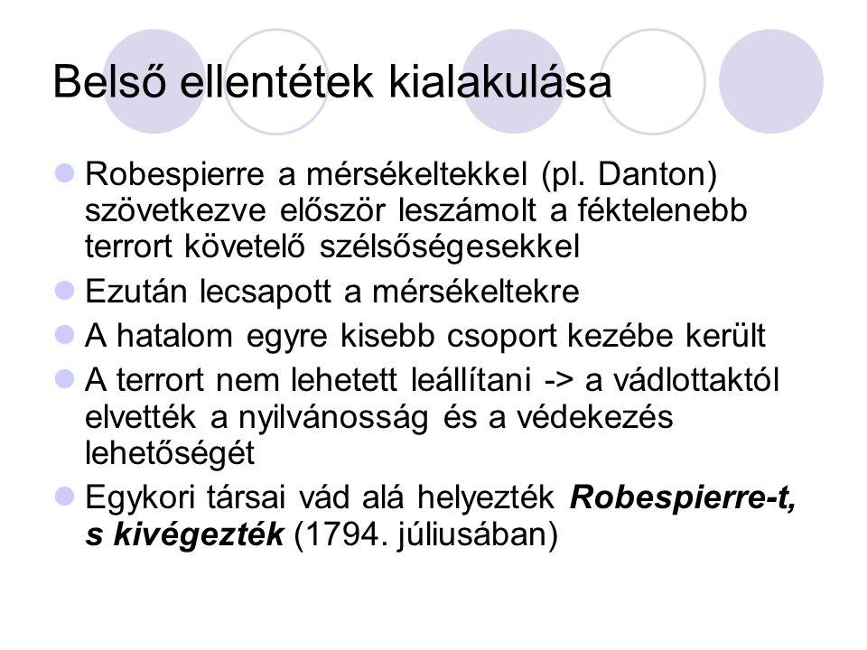 Belső ellentétek kialakulása Robespierre a mérsékeltekkel (pl. Danton) szövetkezve először leszámolt a féktelenebb terrort követelő szélsőségesekkel E