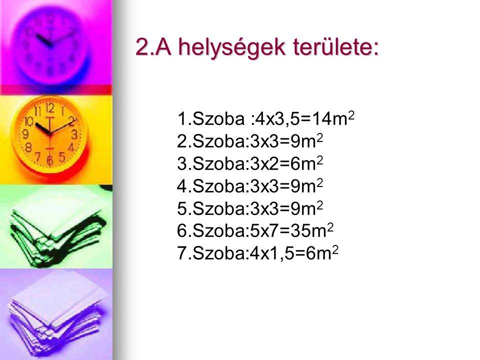 2.A helységek területe: 1.Szoba :4x3,5=14m 2 2.Szoba:3x3=9m 2 3.Szoba:3x2=6m 2 4.Szoba:3x3=9m 2 5.Szoba:3x3=9m 2 6.Szoba:5x7=35m 2 7.Szoba:4x1,5=6m 2