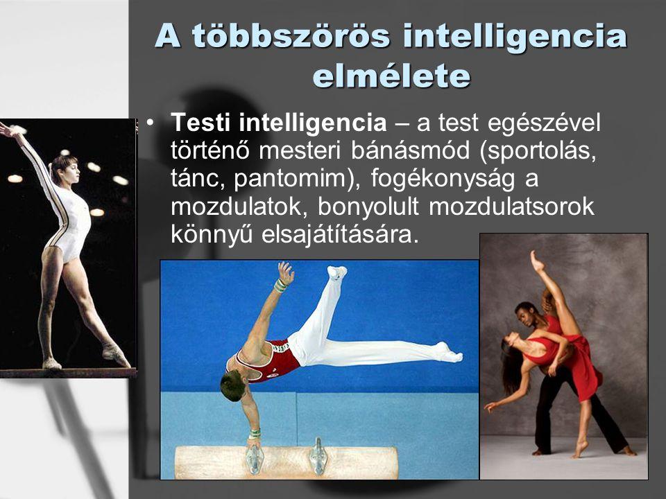 © László Laura A többszörös intelligencia elmélete Testi intelligencia – a test egészével történő mesteri bánásmód (sportolás, tánc, pantomim), fogéko
