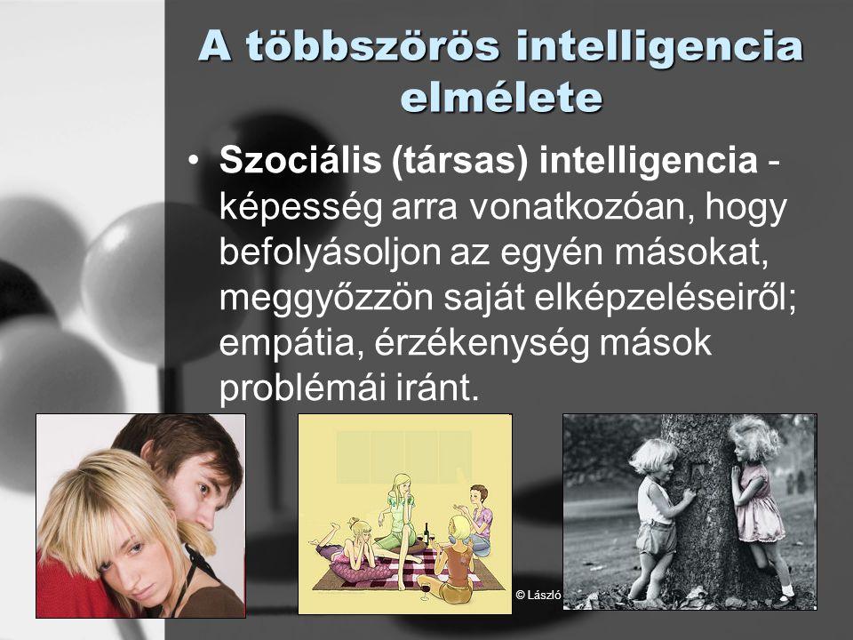 © László Laura A többszörös intelligencia elmélete Szociális (társas) intelligencia - képesség arra vonatkozóan, hogy befolyásoljon az egyén másokat,
