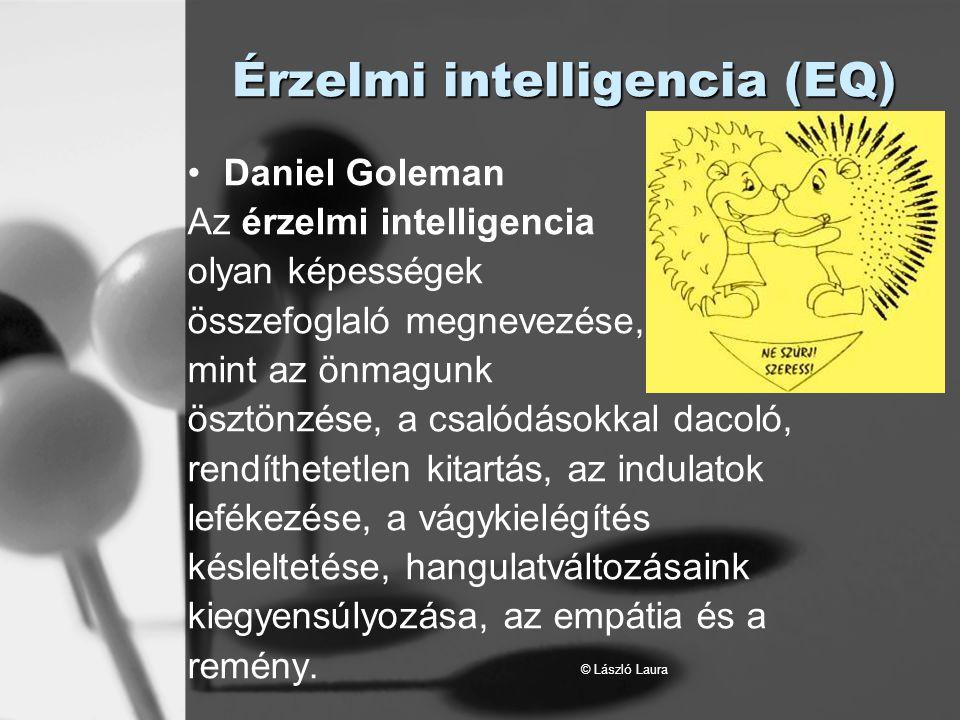 © László Laura Érzelmi intelligencia (EQ) Daniel Goleman Az érzelmi intelligencia olyan képességek összefoglaló megnevezése, mint az önmagunk ösztönzé