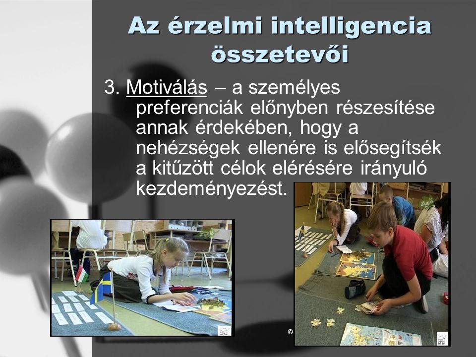© László Laura Az érzelmi intelligencia összetevői 3. Motiválás – a személyes preferenciák előnyben részesítése annak érdekében, hogy a nehézségek ell
