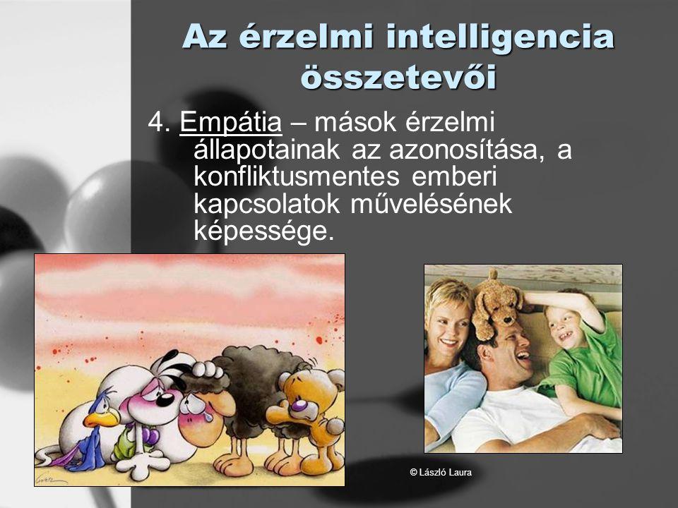 © László Laura Az érzelmi intelligencia összetevői 4. Empátia – mások érzelmi állapotainak az azonosítása, a konfliktusmentes emberi kapcsolatok művel
