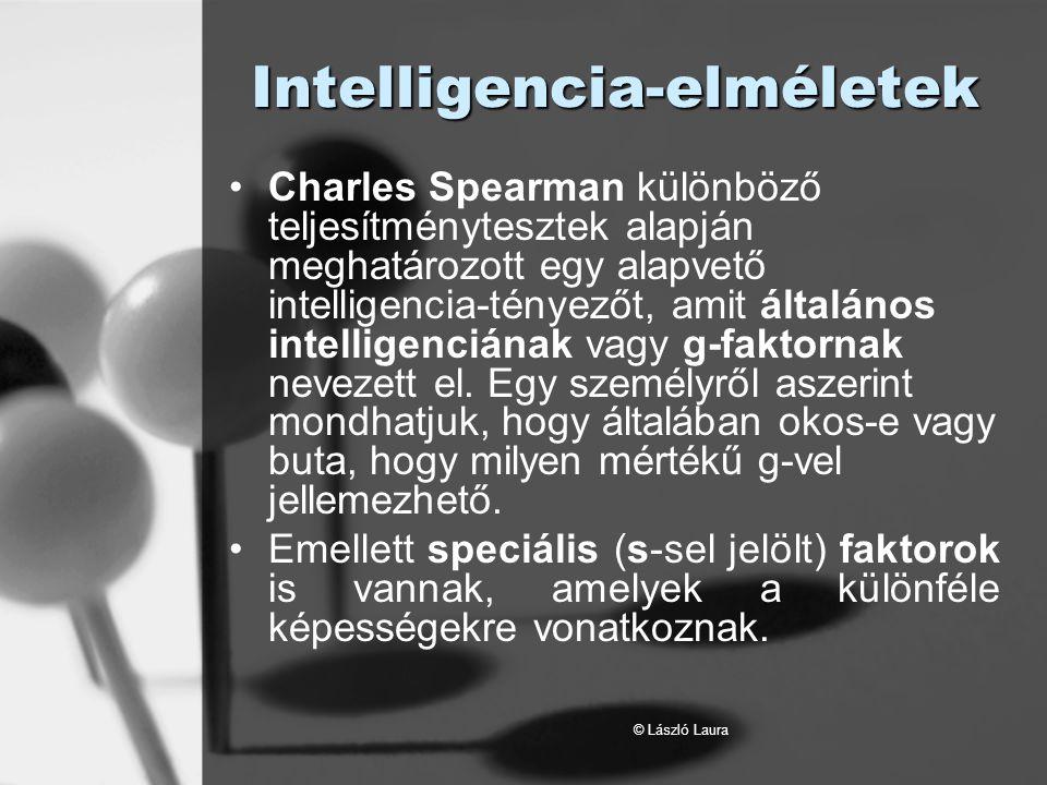 © László Laura IQ-eloszlás A 90 és 110 közötti övezet átlagos, a 130 fölötti különlegesen magas intelligenciát jelez; a 70 alattit értelmi fogyatékosságnak tekintjük.