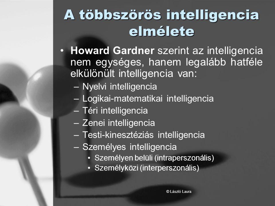 © László Laura A többszörös intelligencia elmélete Nyelvi intelligencia - azt jelenti, hogy valaki könnyedén használja anyanyelvét és könnyen sajátít el nyelveket, alkotó módon használja a nyelvet.
