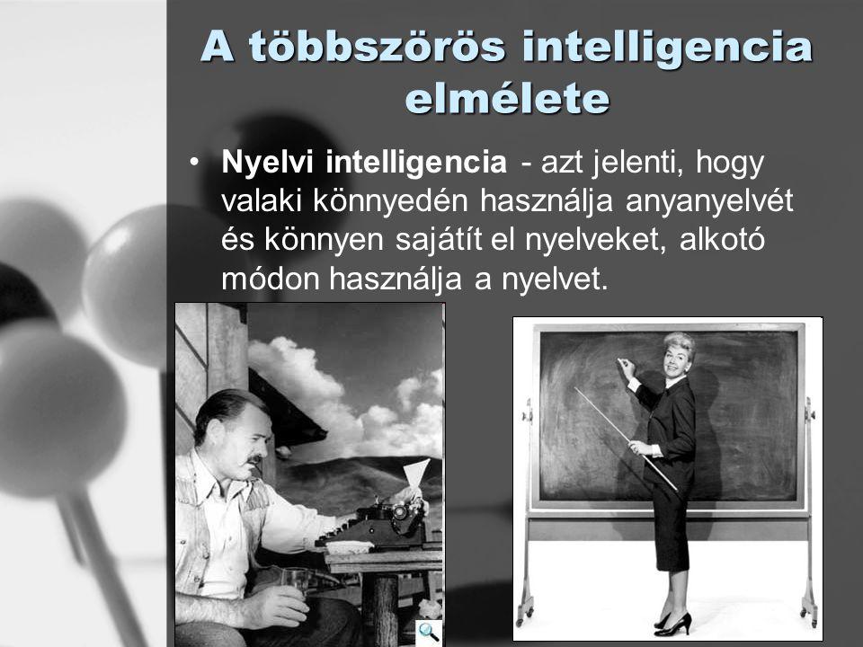 © László Laura A többszörös intelligencia elmélete Logikai-matematikai intelligencia - az érvelést, számolást és a logikus gondolkodást lehetővé tévő képesség; ezt mérik a hagyományos tesztek.