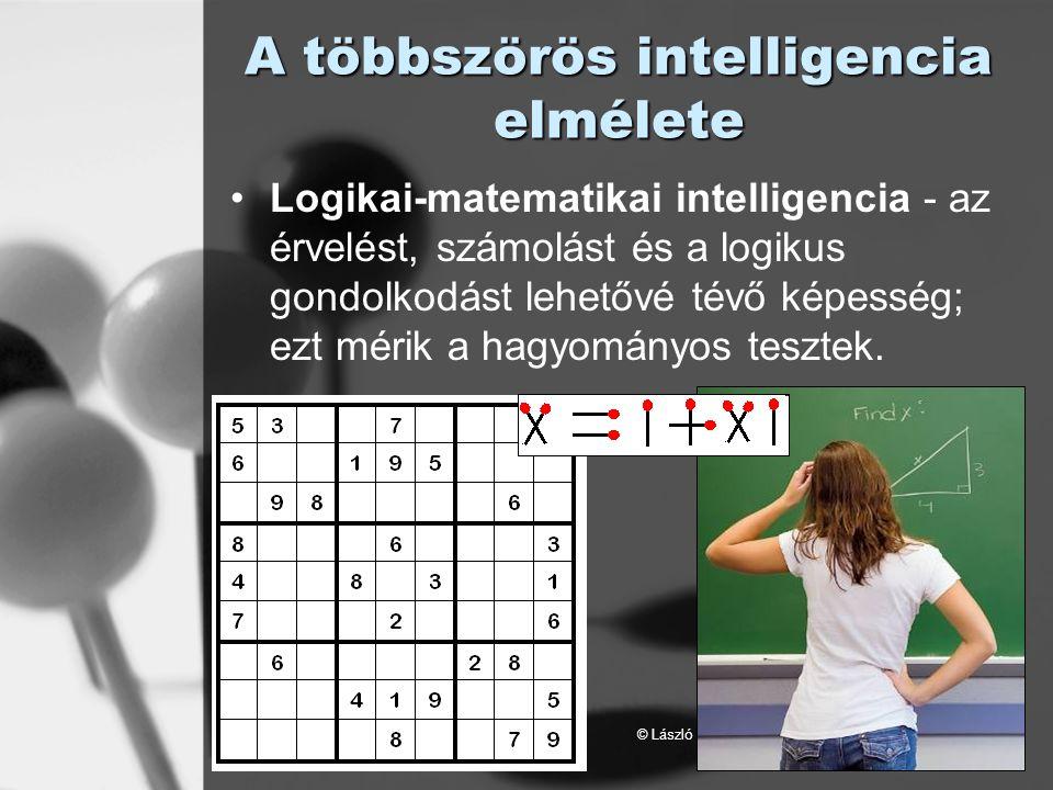 © László Laura A többszörös intelligencia elmélete Logikai-matematikai intelligencia - az érvelést, számolást és a logikus gondolkodást lehetővé tévő