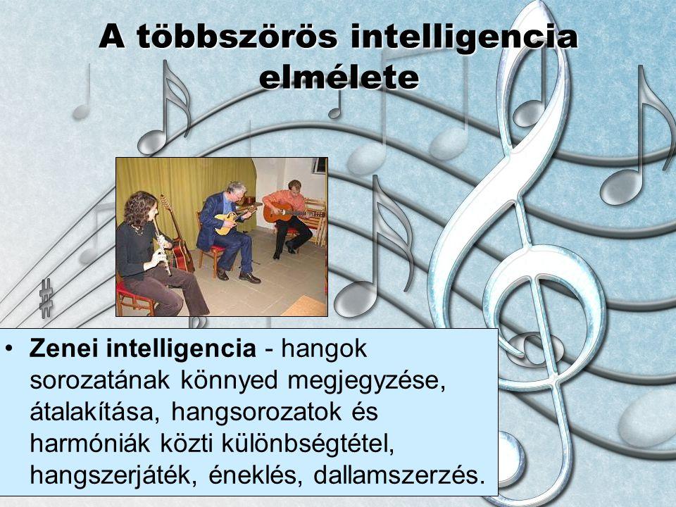 © László Laura A többszörös intelligencia elmélete Zenei intelligencia - hangok sorozatának könnyed megjegyzése, átalakítása, hangsorozatok és harmóni