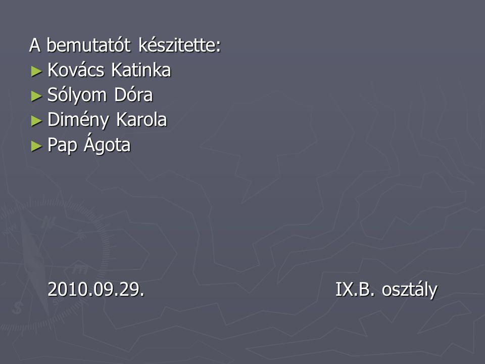 A bemutatót készitette: ► Kovács Katinka ► Sólyom Dóra ► Dimény Karola ► Pap Ágota 2010.09.29.