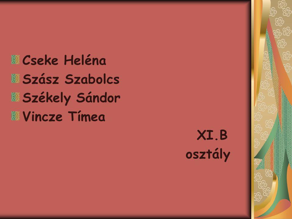 Cseke Heléna Szász Szabolcs Székely Sándor Vincze Tímea XI.B osztály