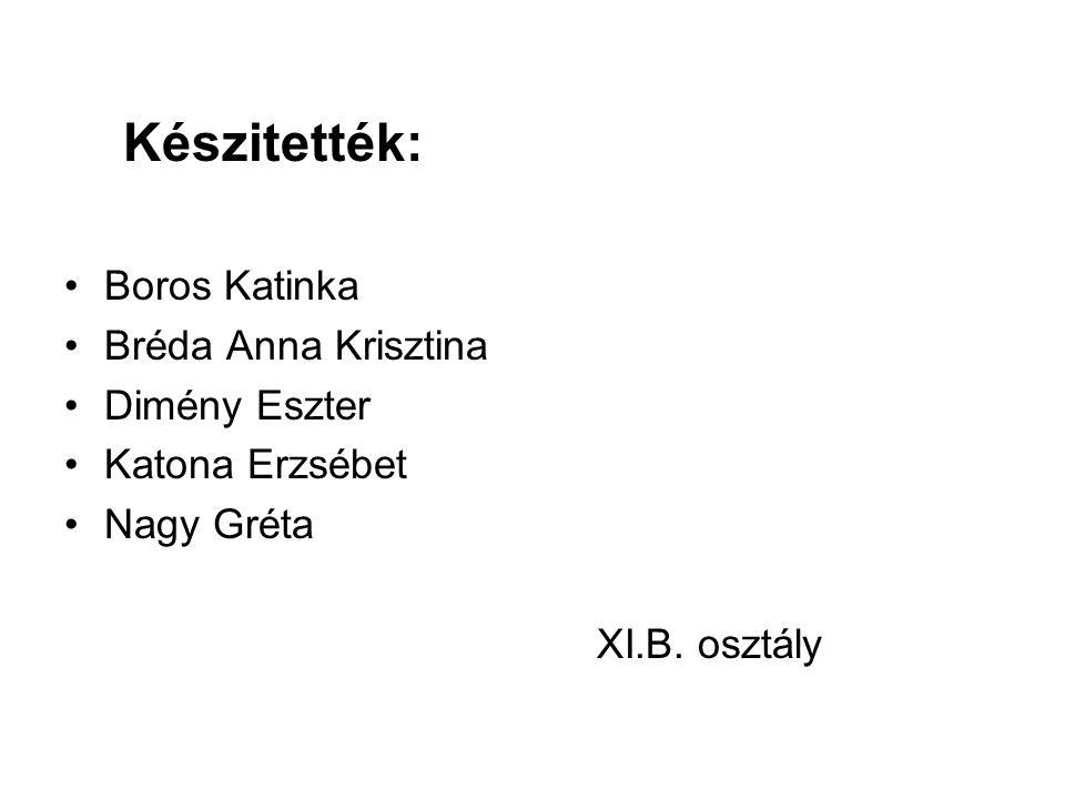 Készitették: Boros Katinka Bréda Anna Krisztina Dimény Eszter Katona Erzsébet Nagy Gréta XI.B. osztály