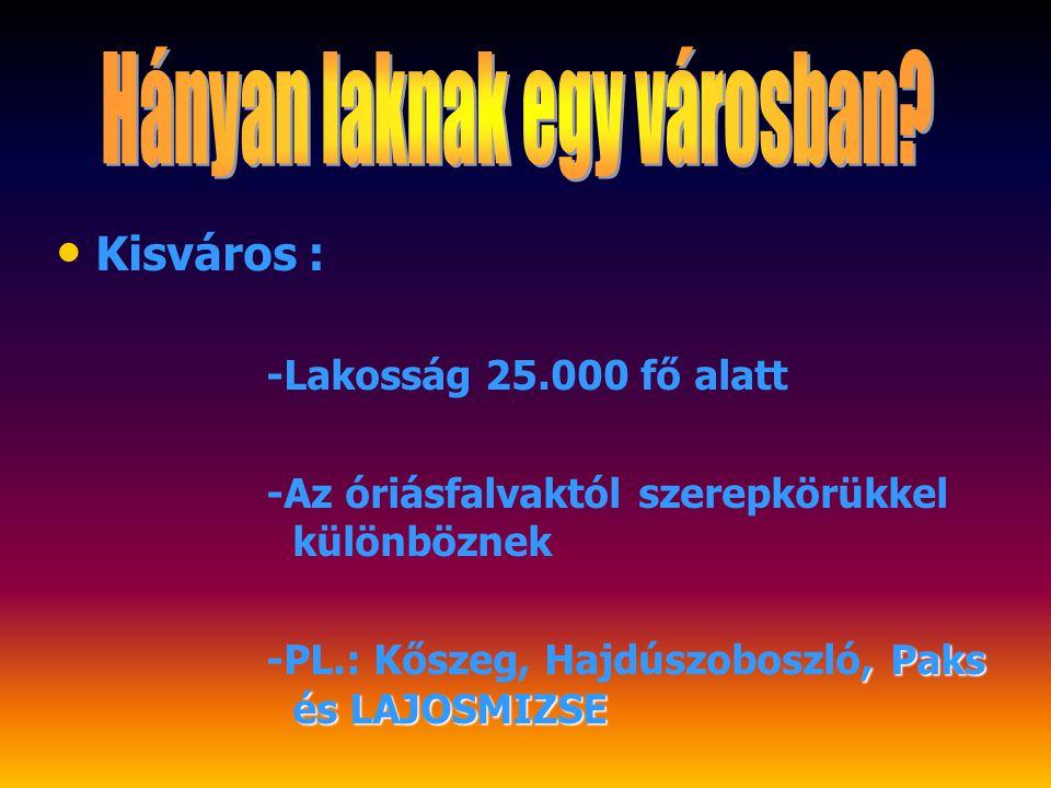 Kisváros : -Lakosság 25.000 fő alatt -Az óriásfalvaktól szerepkörükkel különböznek -PL.: Kőszeg, Hajdúszoboszló, Paks és LAJOSMIZSE
