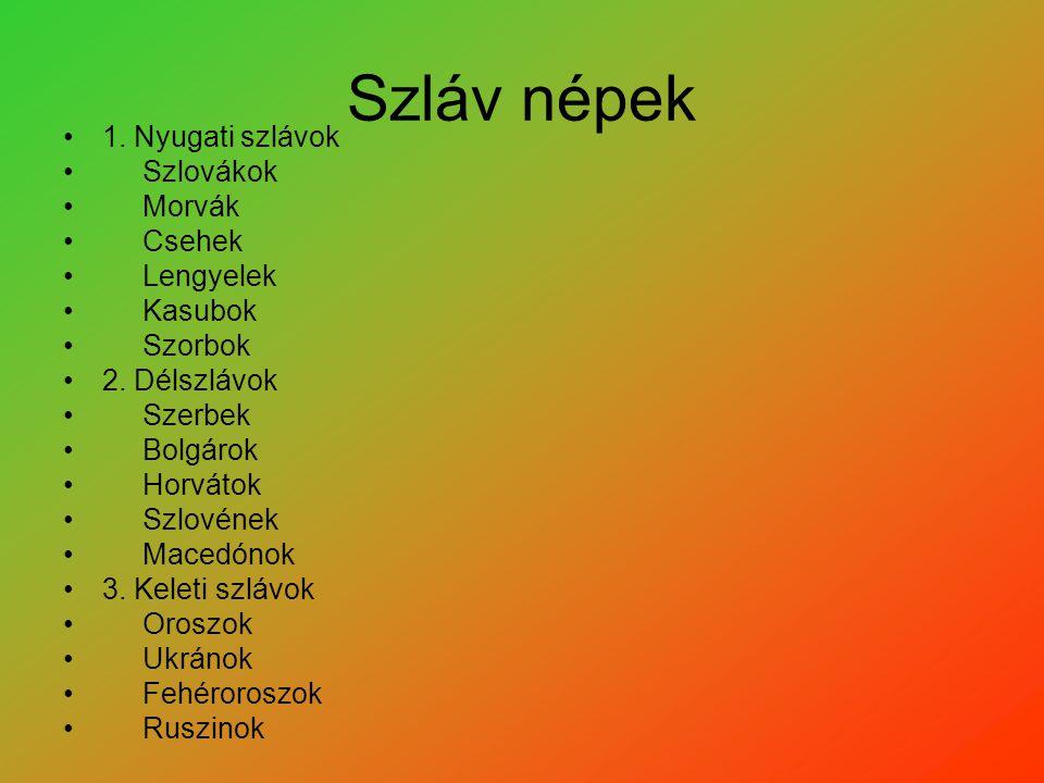 Szláv népek 1. Nyugati szlávok Szlovákok Morvák Csehek Lengyelek Kasubok Szorbok 2. Délszlávok Szerbek Bolgárok Horvátok Szlovének Macedónok 3. Keleti