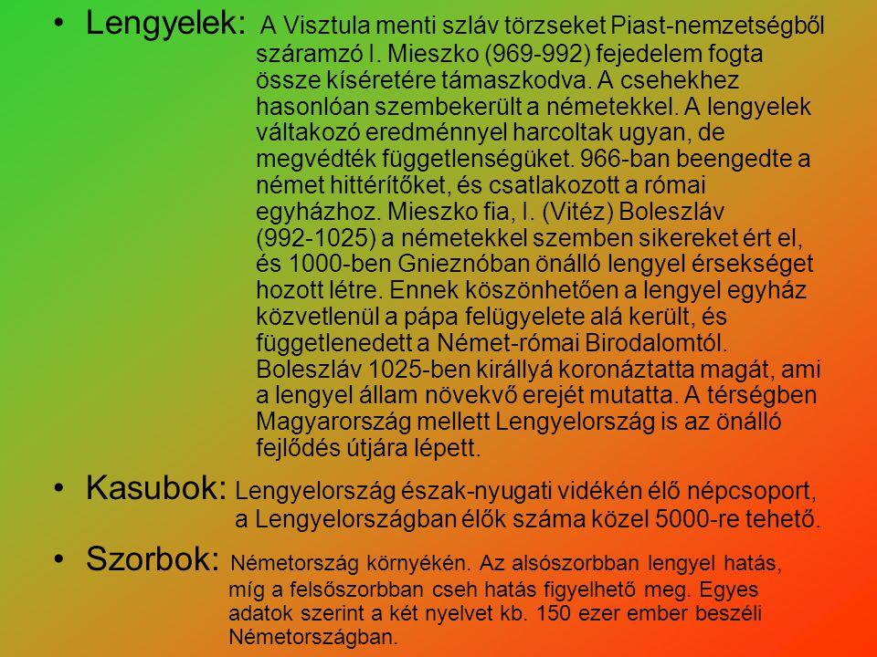 Lengyelek: A Visztula menti szláv törzseket Piast-nemzetségből száramzó I. Mieszko (969-992) fejedelem fogta össze kíséretére támaszkodva. A csehekhez