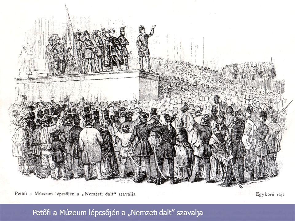 """Petőfi a Múzeum lépcsőjén a """"Nemzeti dalt"""" szavalja"""