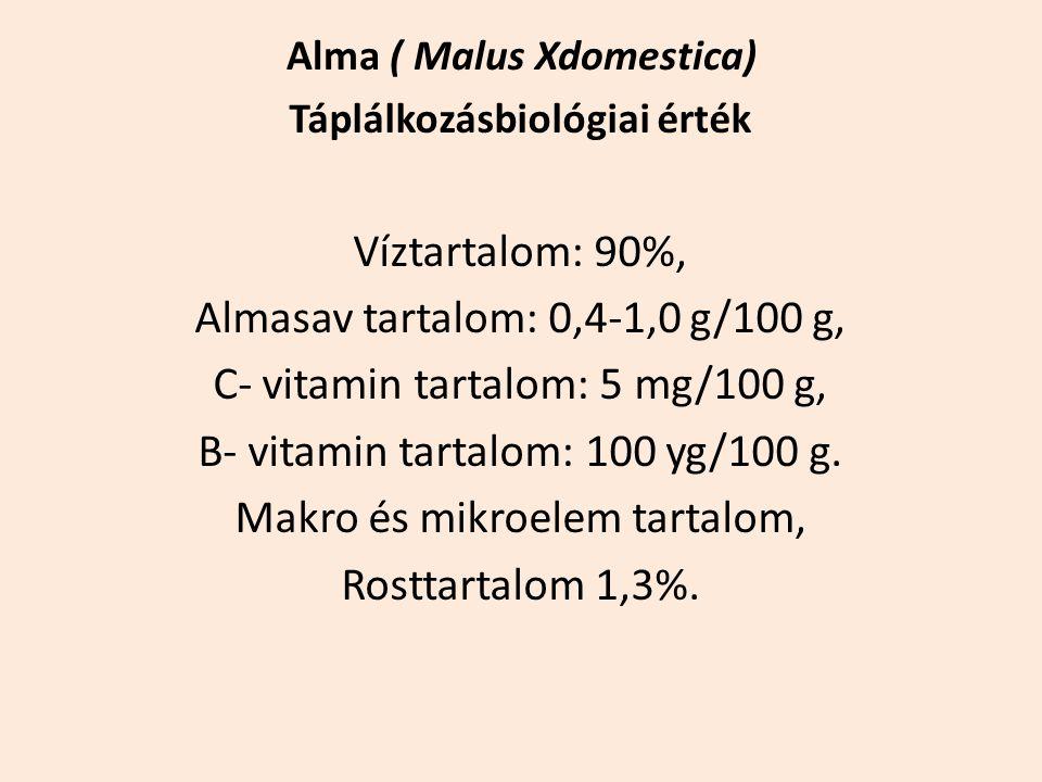 Táplálkozásbiológiai érték Víztartalom: 90%, Almasav tartalom: 0,4-1,0 g/100 g, C- vitamin tartalom: 5 mg/100 g, B- vitamin tartalom: 100 yg/100 g. Ma