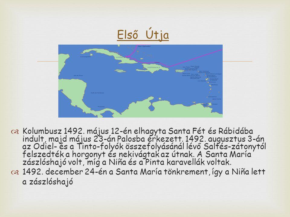   Kolumbusz 1492. május 12-én elhagyta Santa Fét és Rábidába indult, majd május 23-án Palosba érkezett. 1492. augusztus 3-án az Odiel- és a Tinto-fo