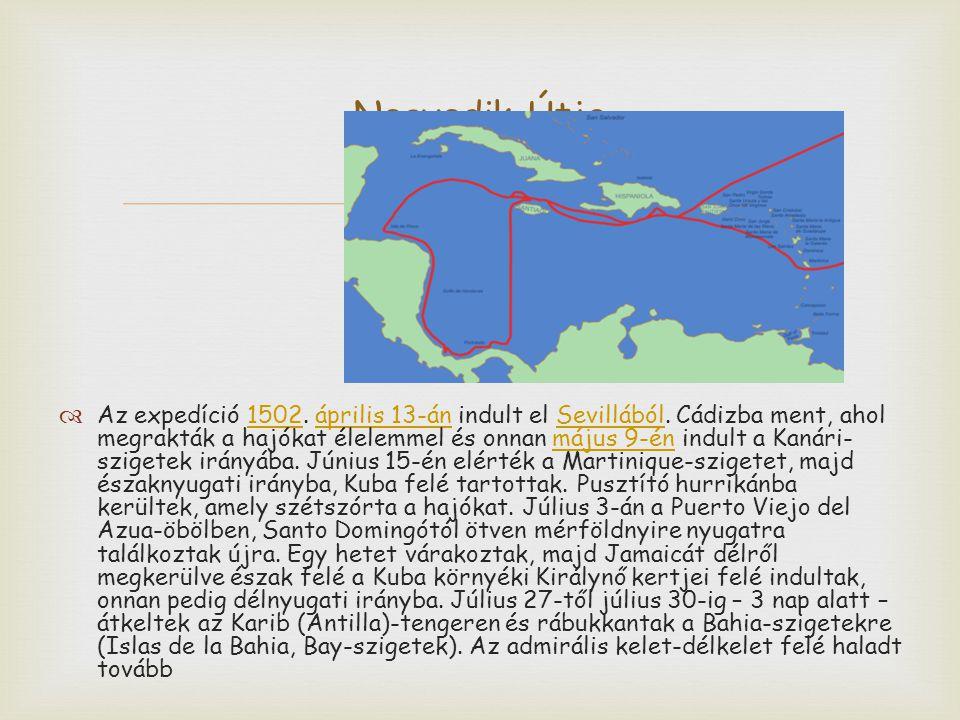   Az expedíció 1502. április 13-án indult el Sevillából. Cádizba ment, ahol megrakták a hajókat élelemmel és onnan május 9-én indult a Kanári- szige