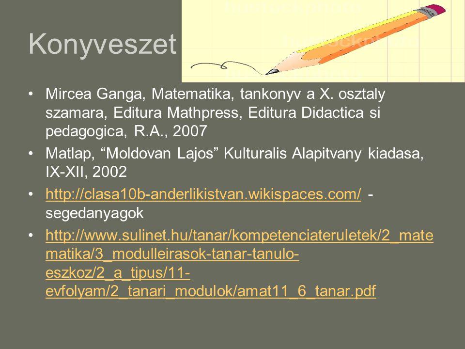 """Konyveszet Mircea Ganga, Matematika, tankonyv a X. osztaly szamara, Editura Mathpress, Editura Didactica si pedagogica, R.A., 2007 Matlap, """"Moldovan L"""