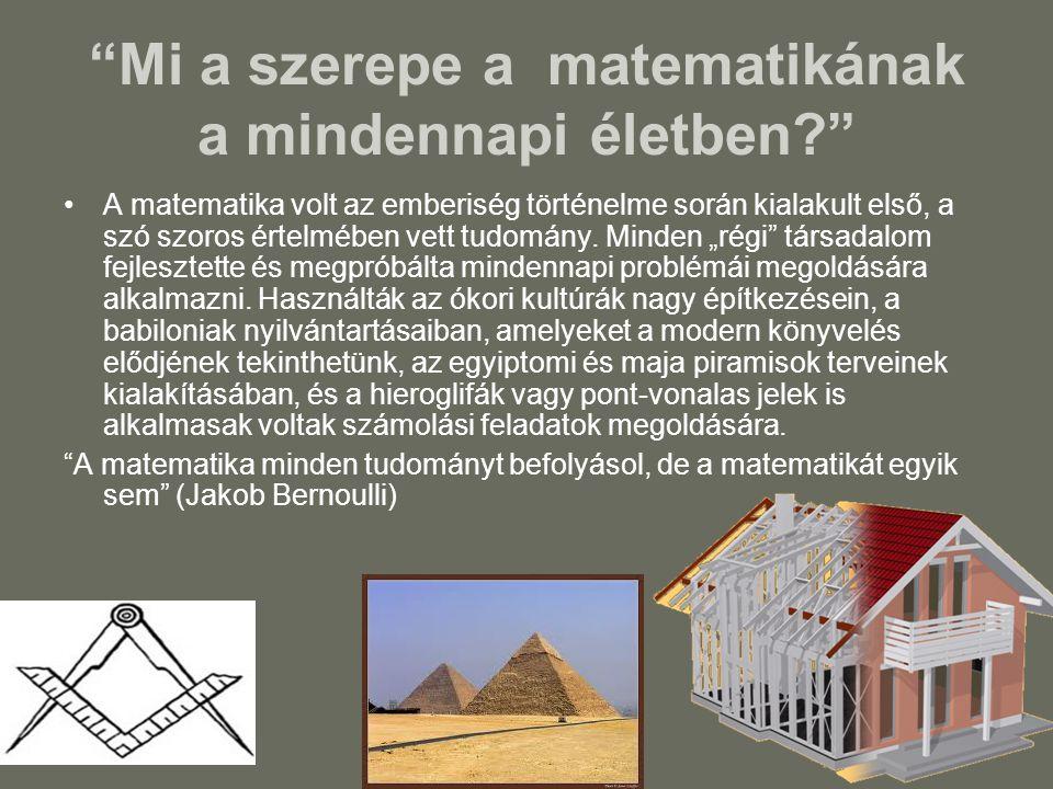 """""""Mi a szerepe a matematikának a mindennapi életben?"""" A matematika volt az emberiség történelme során kialakult első, a szó szoros értelmében vett tudo"""