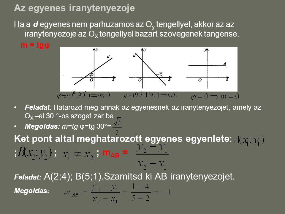 Az egyenes iranytenyezoje Ha a d egyenes nem parhuzamos az O y tengellyel, akkor az az iranytenyezoje az O X tengellyel bazart szovegenek tangense. m
