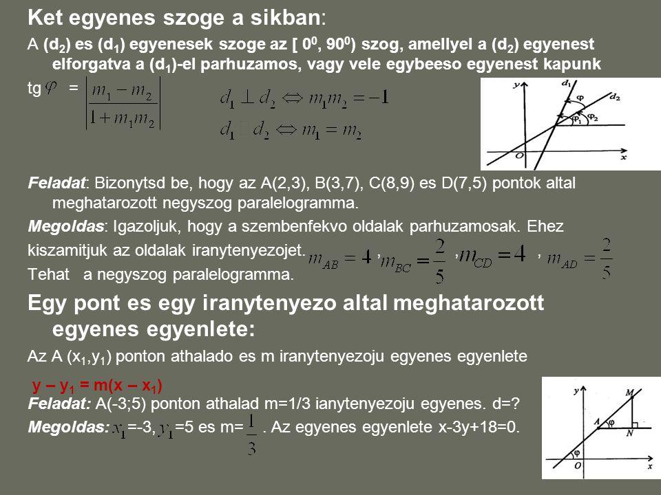 Ket egyenes szoge a sikban: A (d 2 ) es (d 1 ) egyenesek szoge az [ 0 0, 90 0 ) szog, amellyel a (d 2 ) egyenest elforgatva a (d 1 )-el parhuzamos, va